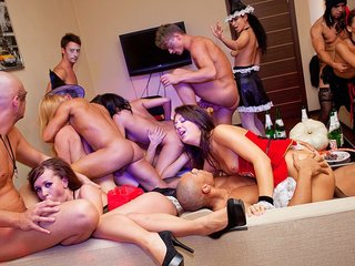 Halloween theme orgy soiree in total..